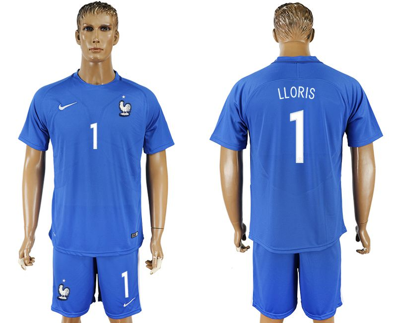 Men 2017-2018 National France home 1 blue soccer jersey