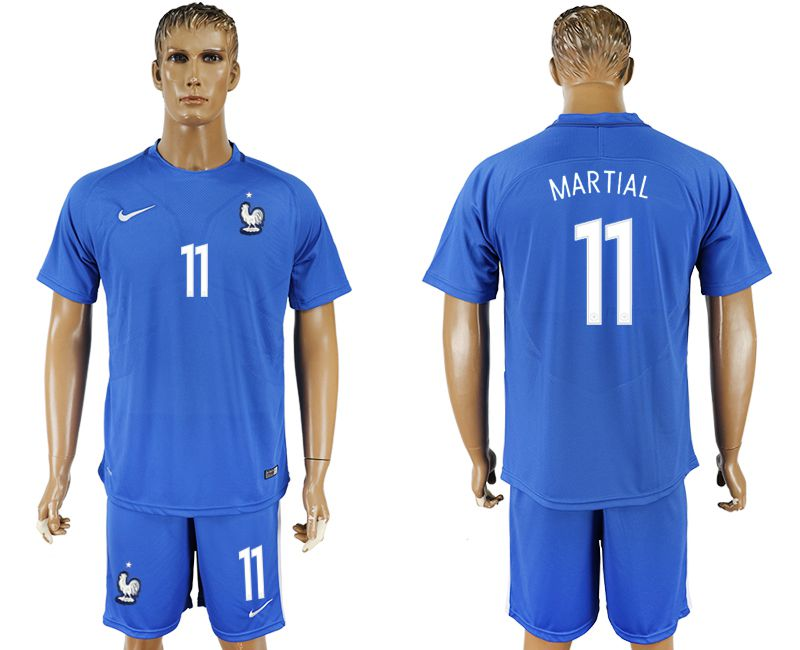 Men 2017-2018 National France home 11 blue soccer jersey