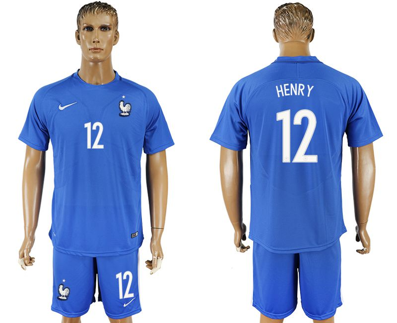 Men 2017-2018 National France home 12 blue soccer jersey