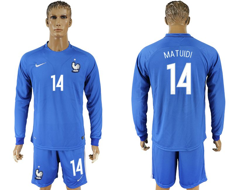 Men 2017-2018 National France home 14 blue long sleeve soccer jersey