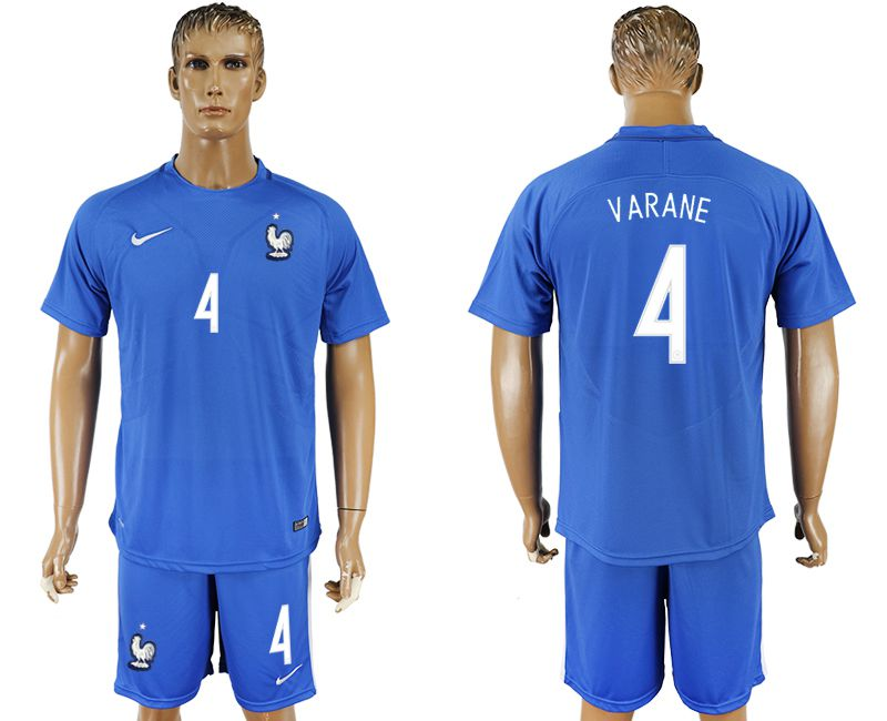 Men 2017-2018 National France home 4 blue soccer jersey