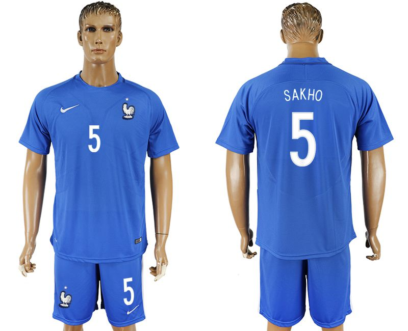 Men 2017-2018 National France home 5 blue soccer jersey