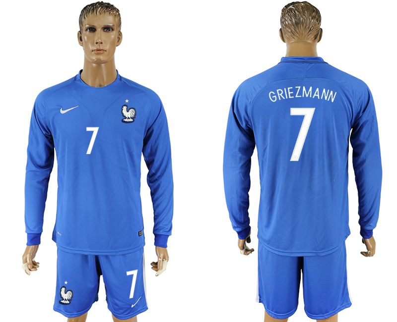 Men 2017-2018 National France home 7 blue long sleeve soccer jersey