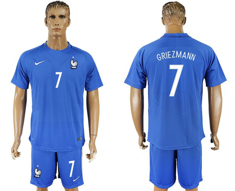Men 2017-2018 National France home 7 blue soccer jersey
