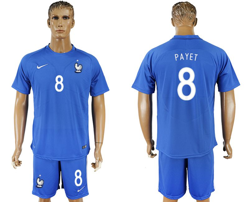 Men 2017-2018 National France home 8 blue soccer jersey