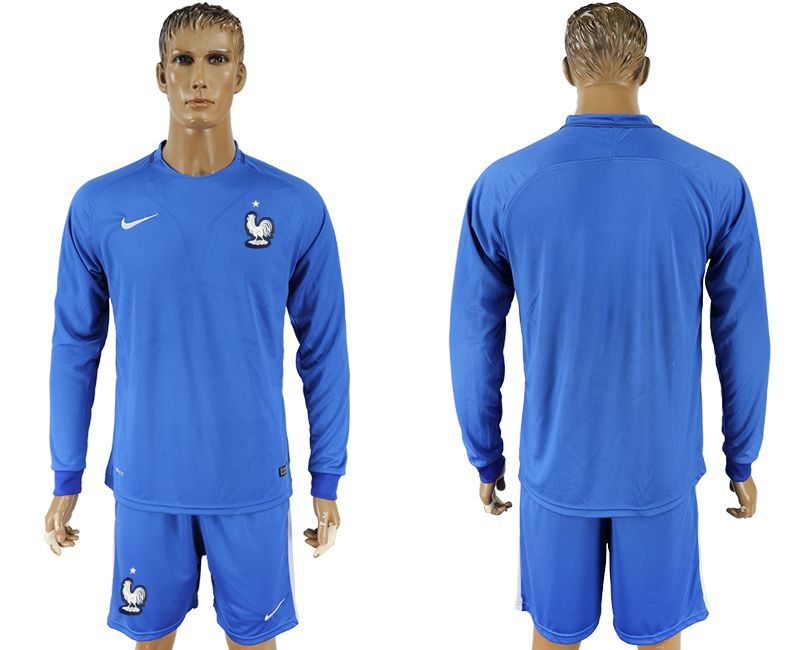 Men 2017-2018 National France home blank blue long sleeve soccer jersey
