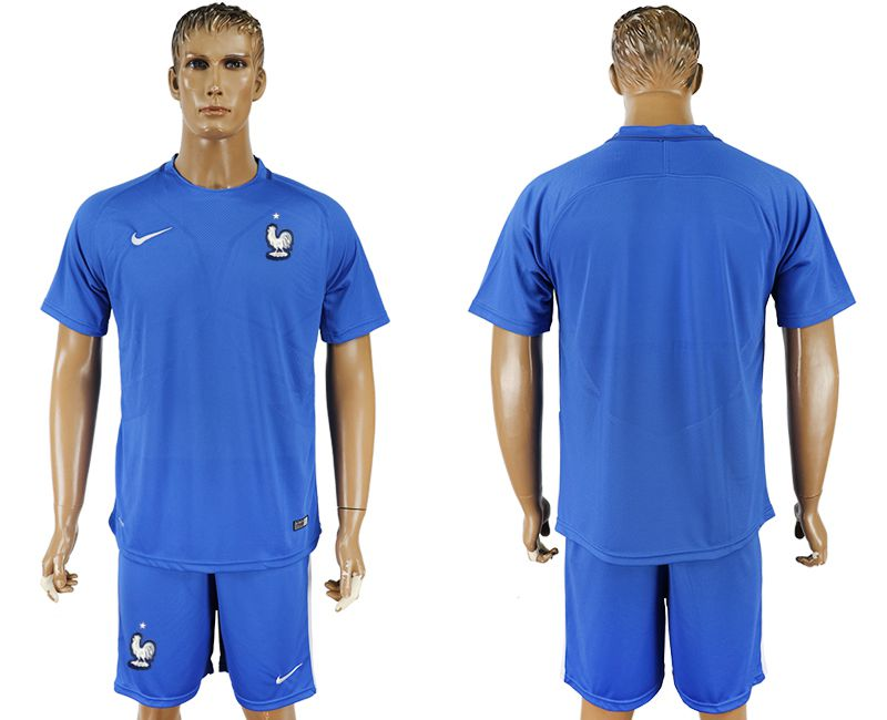 Men 2017-2018 National France home blank blue soccer jersey