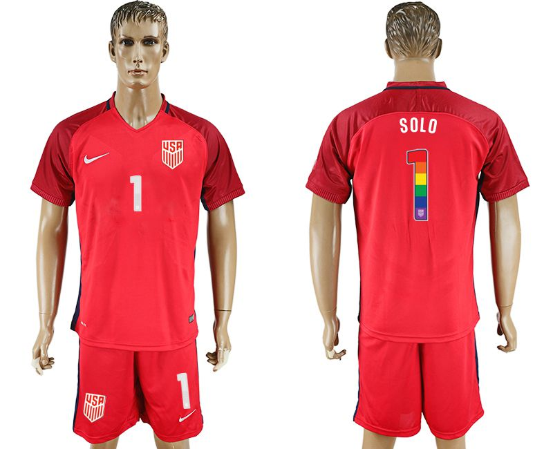 Men 2017-2018 National USA away limited edition rainbow 1 red soccer jersey