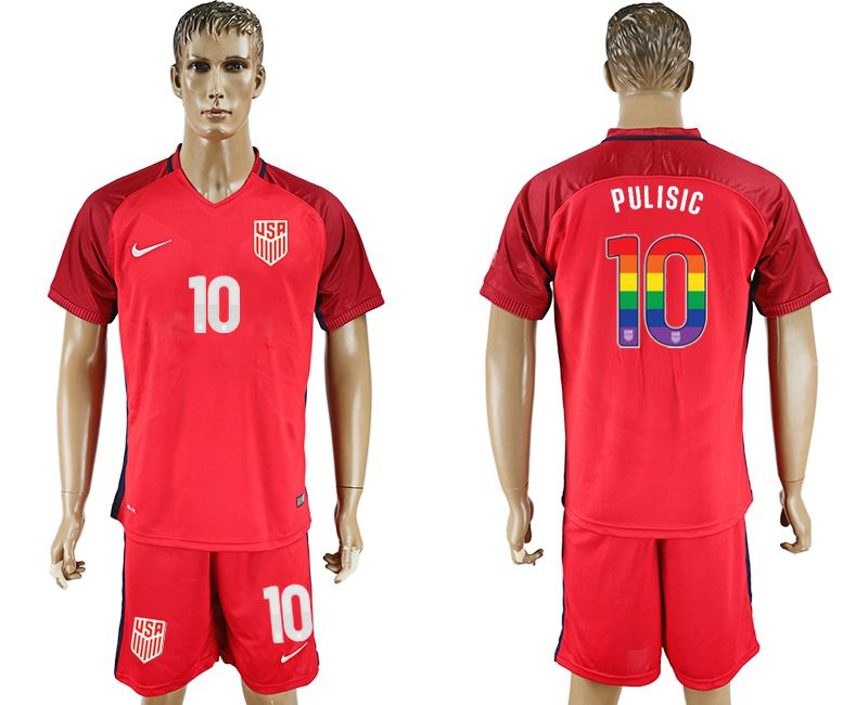 Men 2017-2018 National USA away limited edition rainbow 10 red soccer jersey1