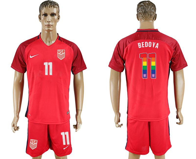 Men 2017-2018 National USA away limited edition rainbow 11 red soccer jersey