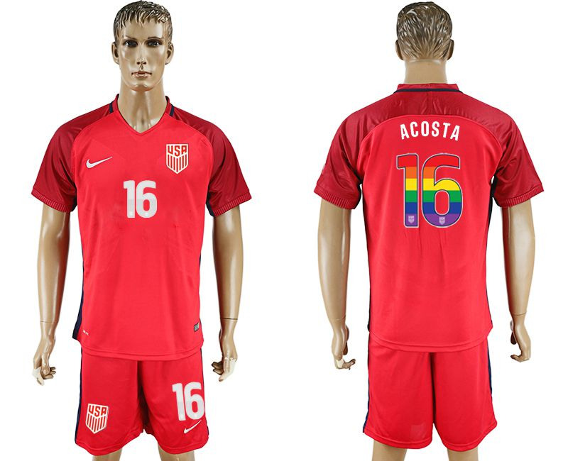 Men 2017-2018 National USA away limited edition rainbow 16 red soccer jersey
