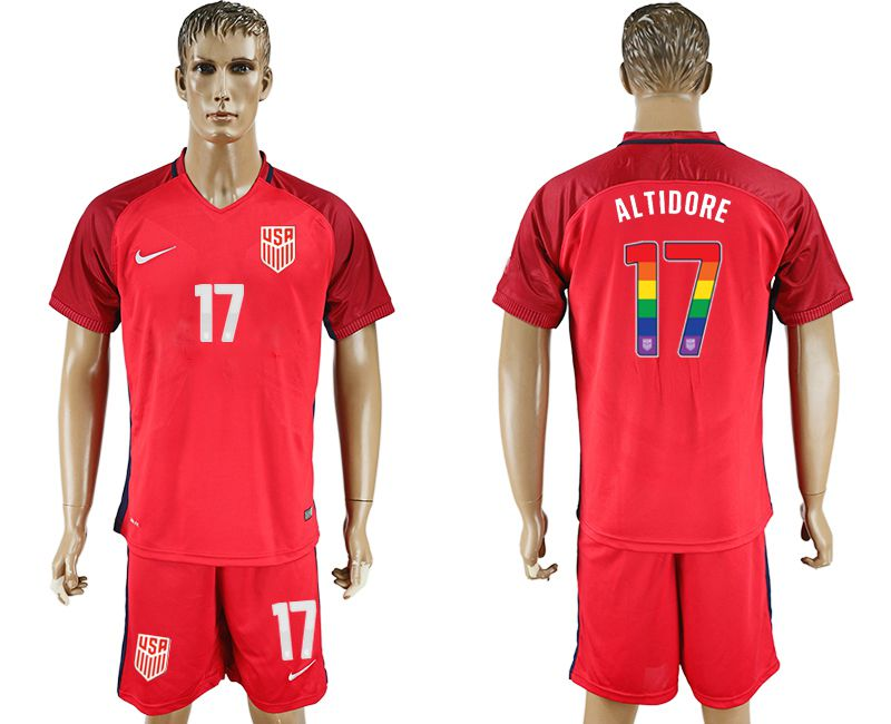 Men 2017-2018 National USA away limited edition rainbow 17 red soccer jersey