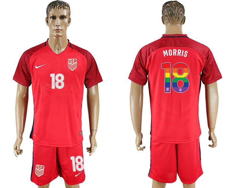 Men 2017-2018 National USA away limited edition rainbow 18 red soccer jersey