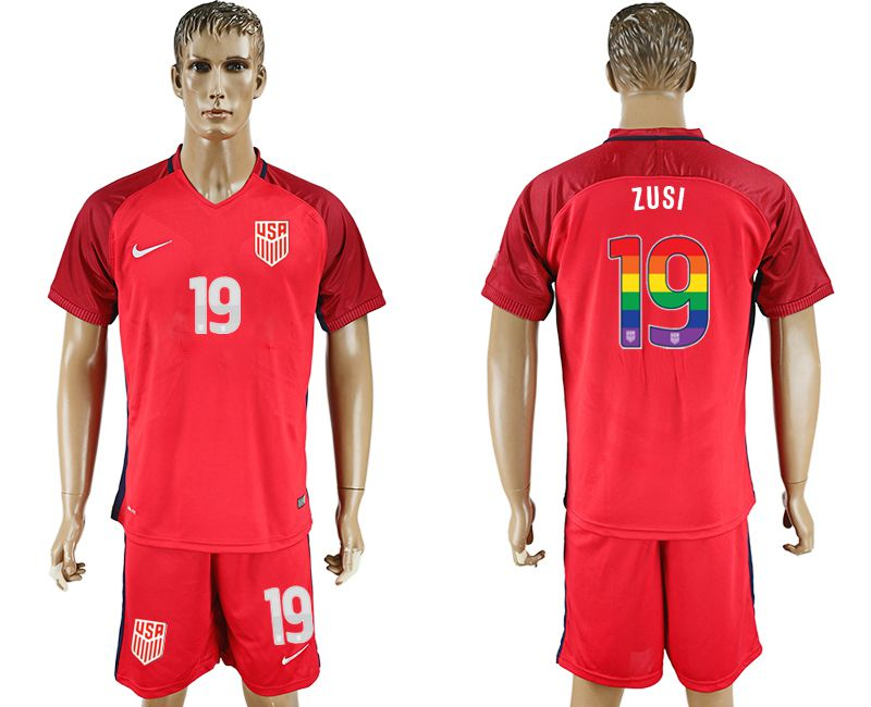 Men 2017-2018 National USA away limited edition rainbow 19 red soccer jersey
