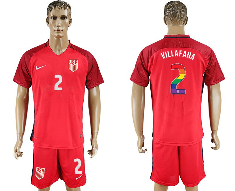 Men 2017-2018 National USA away limited edition rainbow 2 red soccer jersey