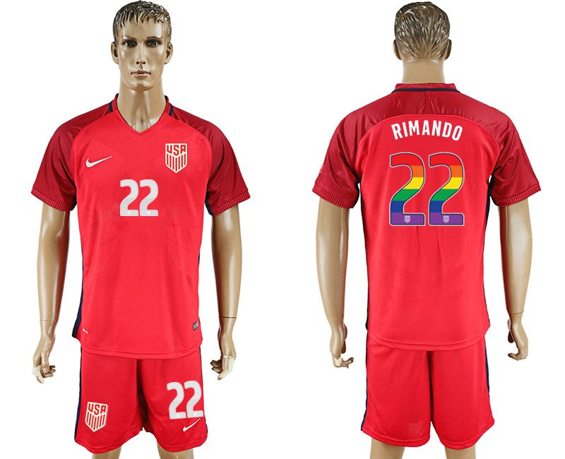 Men 2017-2018 National USA away limited edition rainbow 22 red soccer jersey