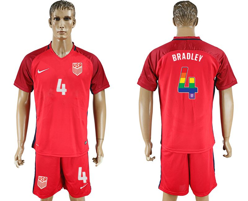 Men 2017-2018 National USA away limited edition rainbow 4 red soccer jersey