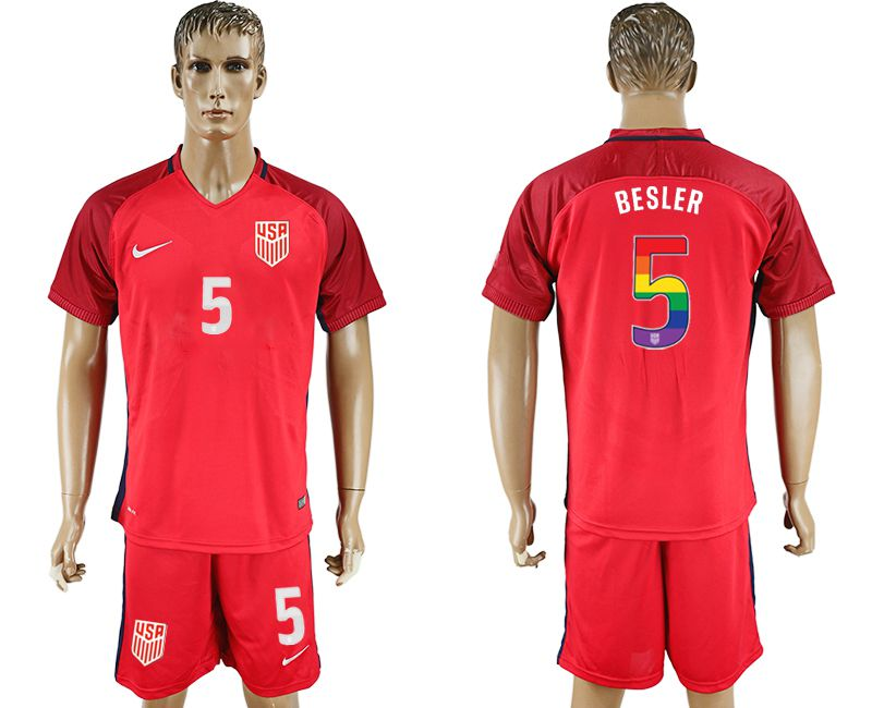 Men 2017-2018 National USA away limited edition rainbow 5 red soccer jersey