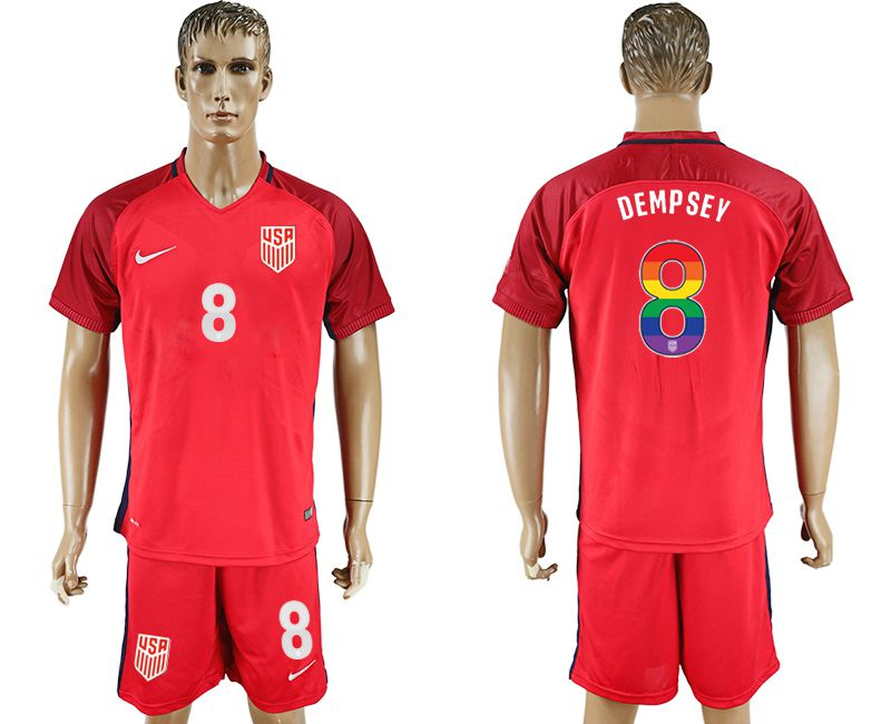 Men 2017-2018 National USA away limited edition rainbow 8 red soccer jersey