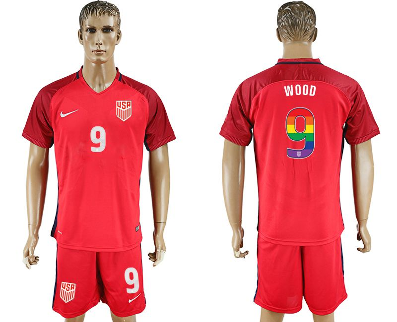 Men 2017-2018 National USA away limited edition rainbow 9 red soccer jersey