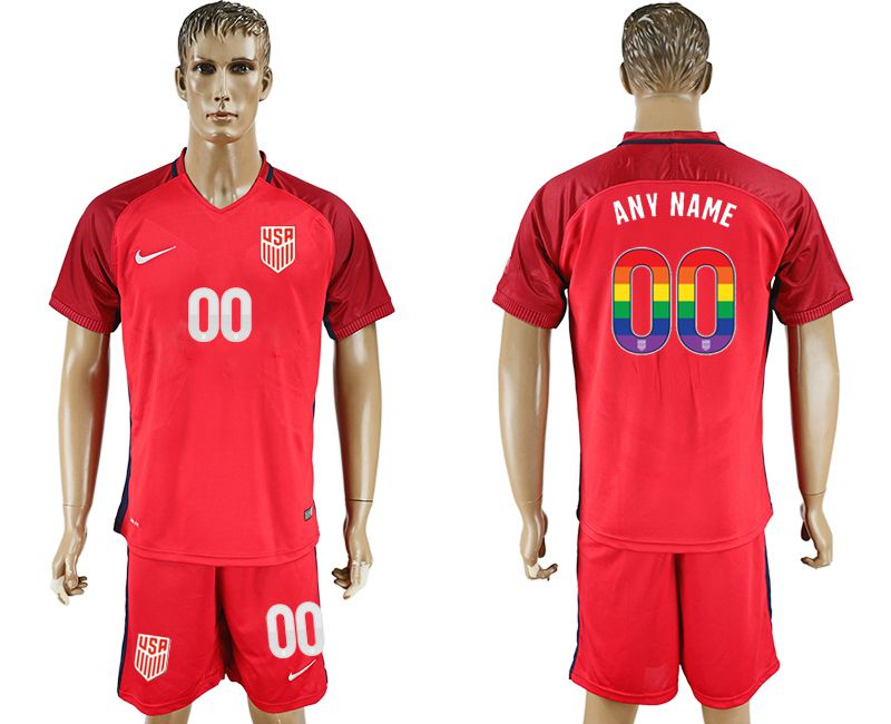Men 2017-2018 National USA away limited edition rainbow customized red soccer jersey