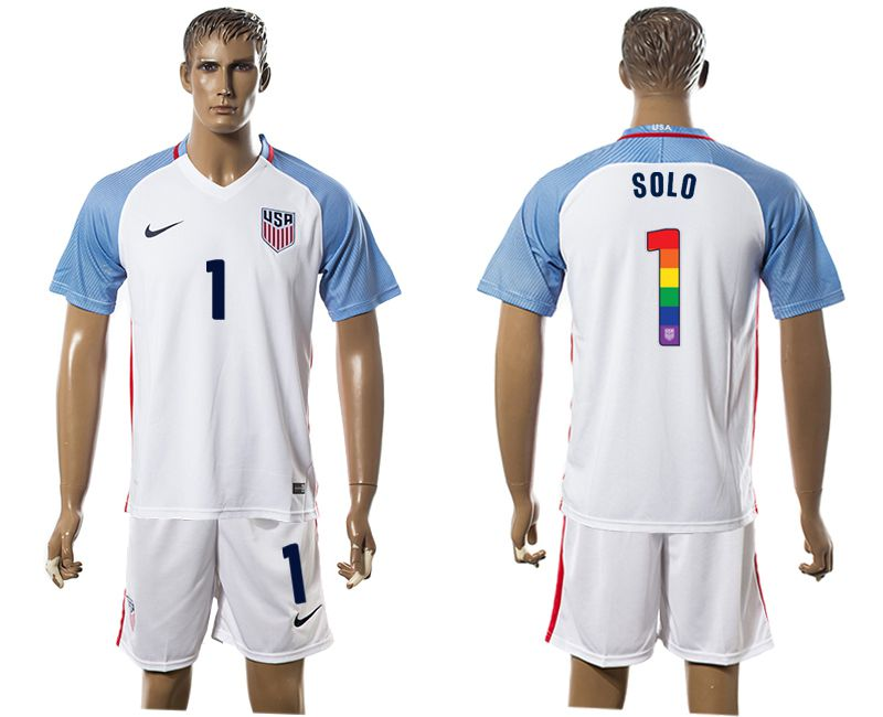 Men 2017-2018 National USA home limited edition rainbow 1 white soccer jersey