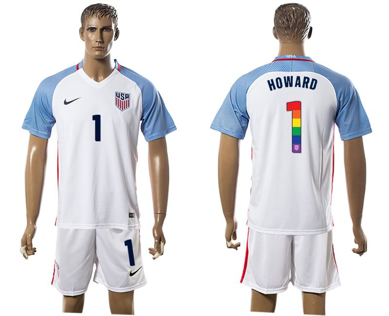 Men 2017-2018 National USA home limited edition rainbow 1 white soccer jersey1