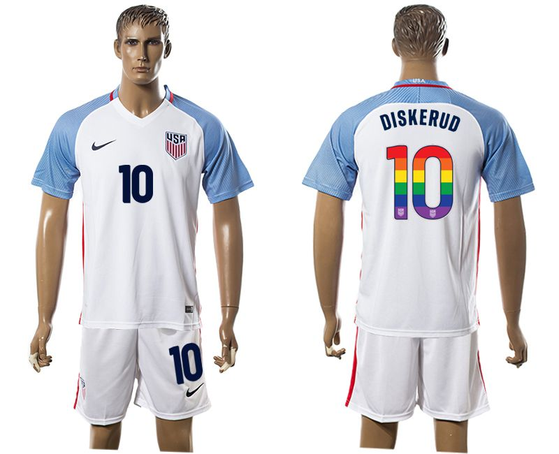 Men 2017-2018 National USA home limited edition rainbow 10 white soccer jersey1