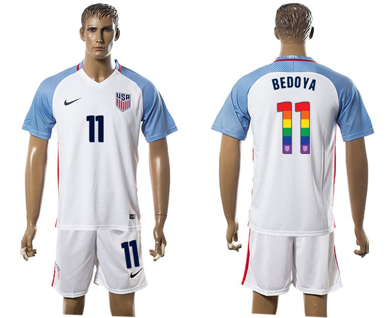 Men 2017-2018 National USA home limited edition rainbow 11 white soccer jersey1