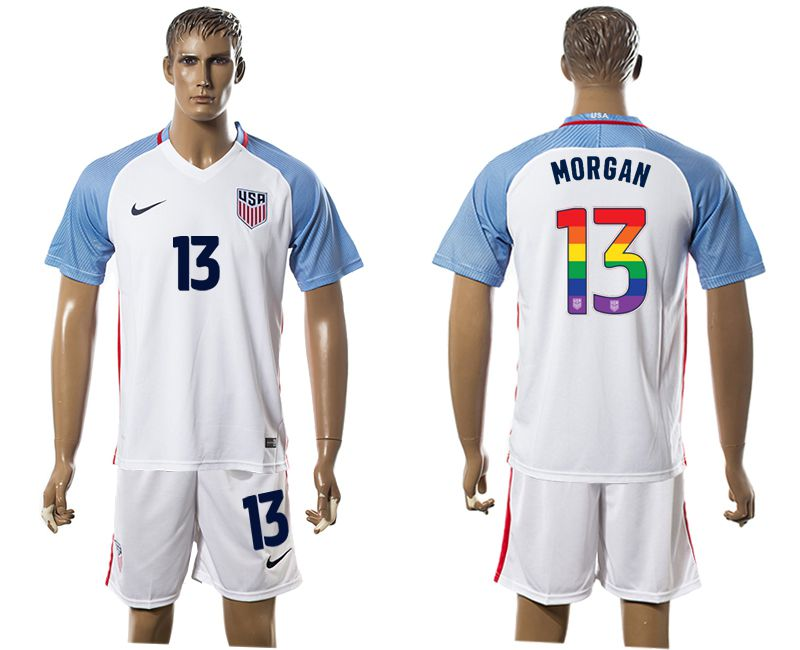 Men 2017-2018 National USA home limited edition rainbow 13 white soccer jersey1