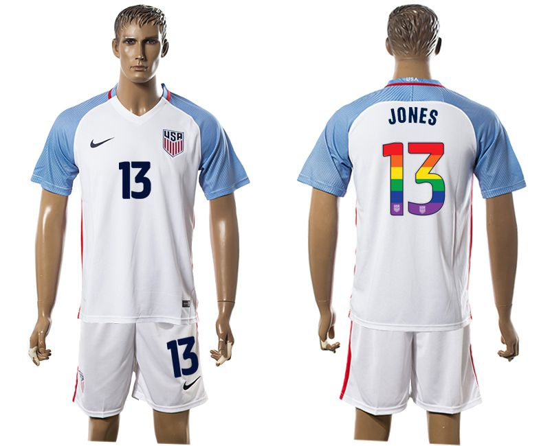 Men 2017-2018 National USA home limited edition rainbow 13 white soccer jersey2