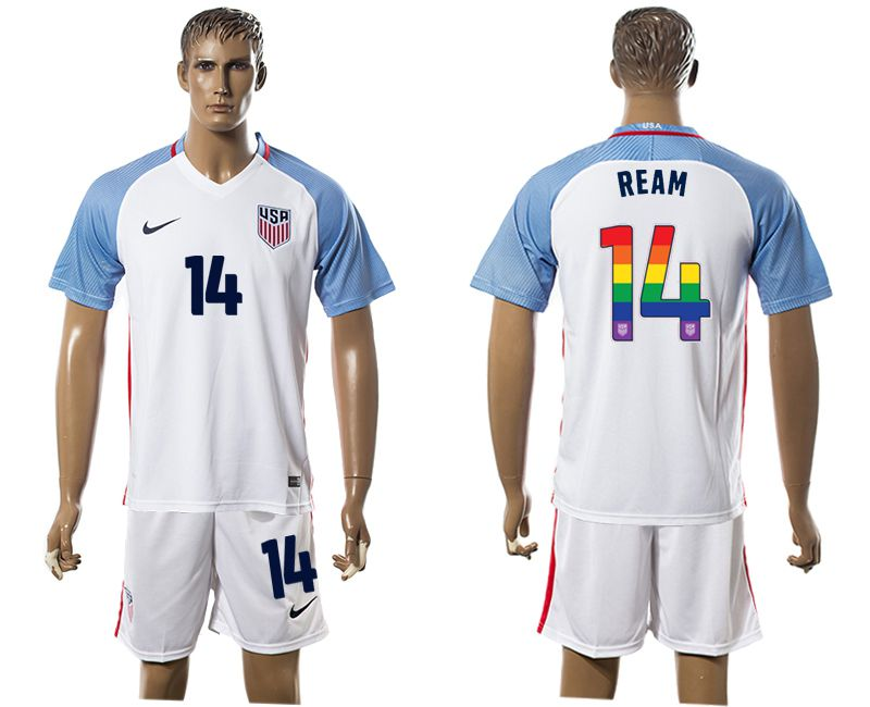 Men 2017-2018 National USA home limited edition rainbow 14 white soccer jersey