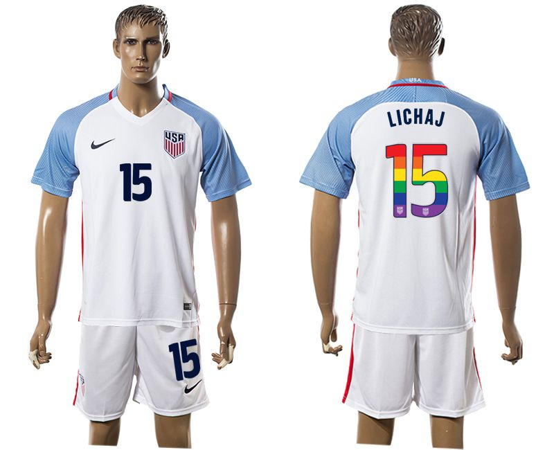 Men 2017-2018 National USA home limited edition rainbow 15 white soccer jersey