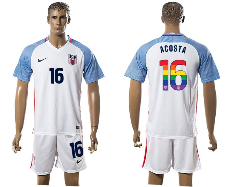 Men 2017-2018 National USA home limited edition rainbow 16 white soccer jersey