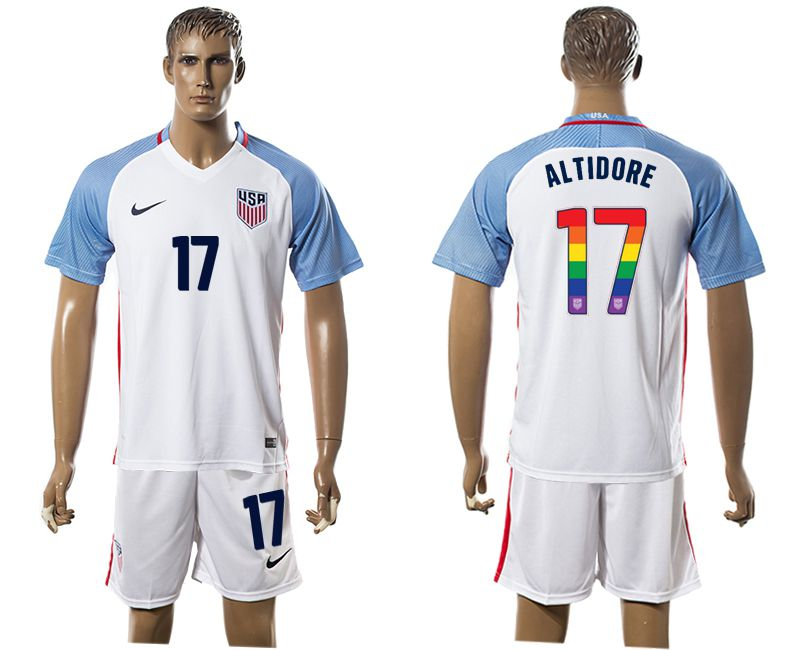 Men 2017-2018 National USA home limited edition rainbow 17 white soccer jersey