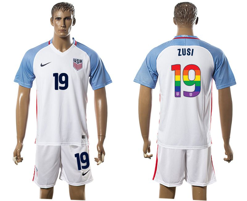 Men 2017-2018 National USA home limited edition rainbow 19 white soccer jersey