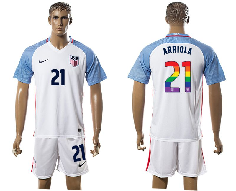Men 2017-2018 National USA home limited edition rainbow 21 white soccer jersey