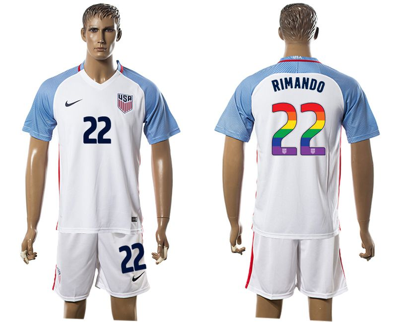 Men 2017-2018 National USA home limited edition rainbow 22 white soccer jersey