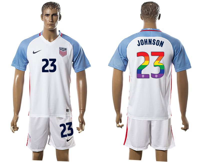 Men 2017-2018 National USA home limited edition rainbow 23 white soccer jersey