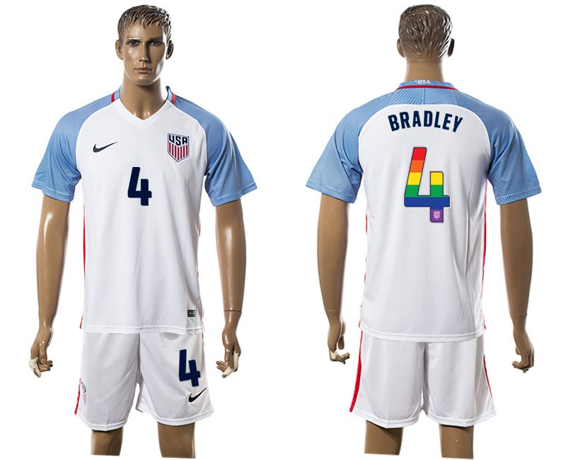 Men 2017-2018 National USA home limited edition rainbow 4 white soccer jersey