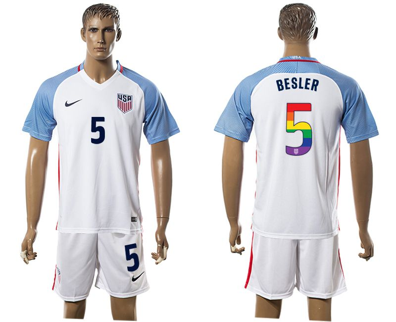 Men 2017-2018 National USA home limited edition rainbow 5 white soccer jersey