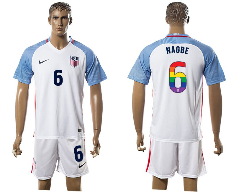 Men 2017-2018 National USA home limited edition rainbow 6 white soccer jersey