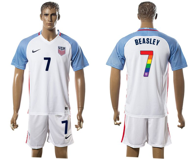Men 2017-2018 National USA home limited edition rainbow 7 white soccer jersey