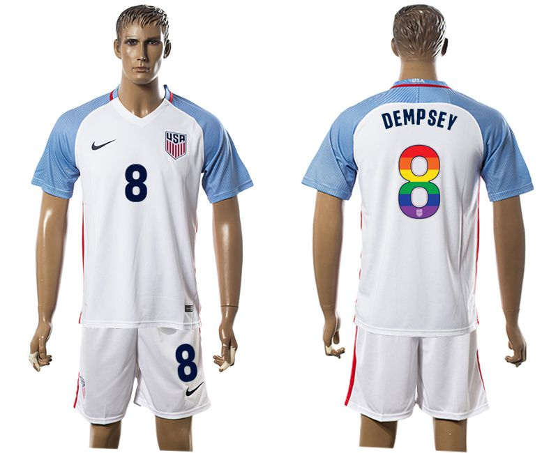 Men 2017-2018 National USA home limited edition rainbow 8 white soccer jersey