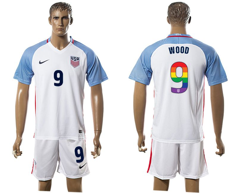 Men 2017-2018 National USA home limited edition rainbow 9 white soccer jersey