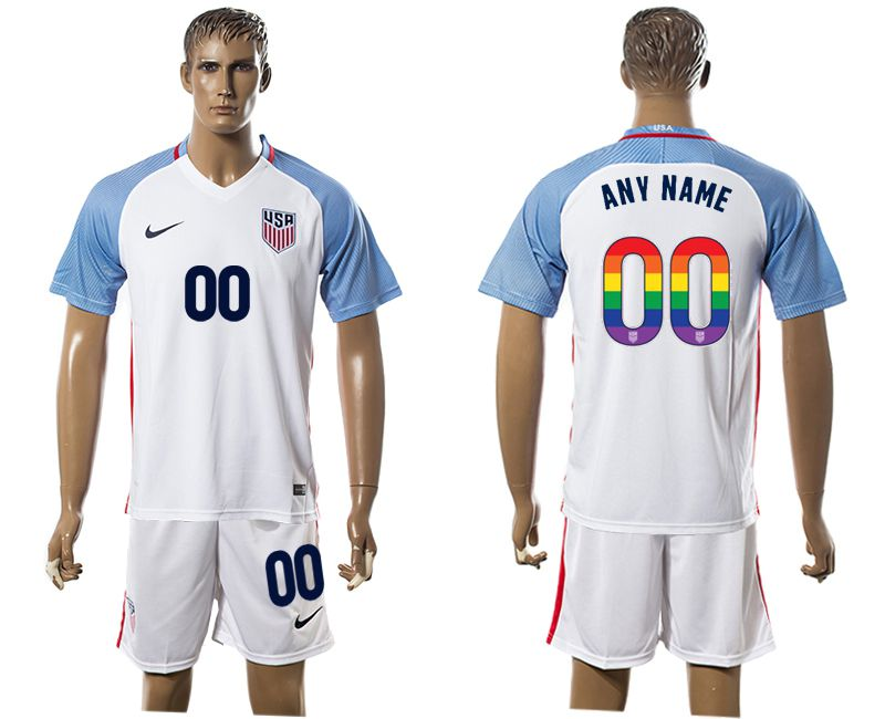 Men 2017-2018 National USA home limited edition rainbow customized white soccer jersey