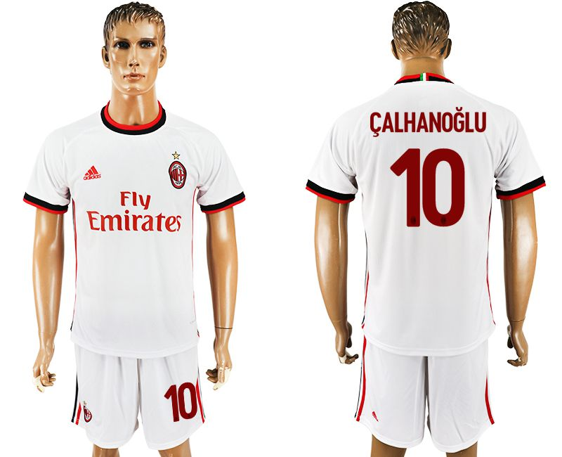 Men 2017-2018 club AC milan away 10 white soccer jersey1