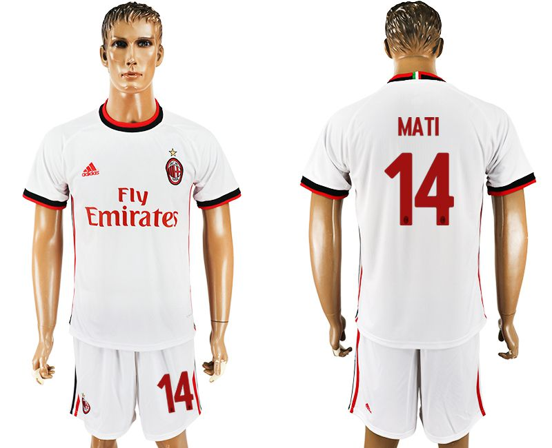 Men 2017-2018 club AC milan away 14 white soccer jersey