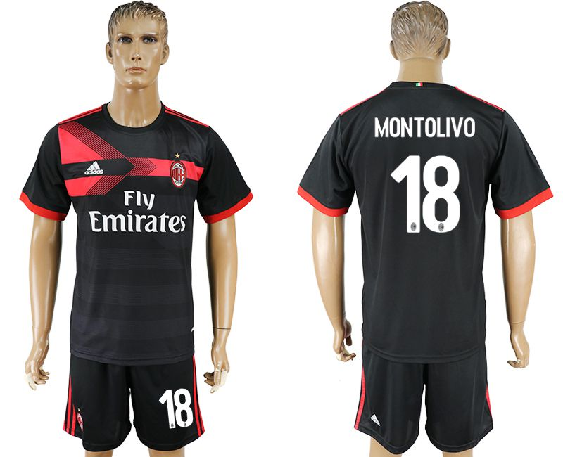 Men 2017-2018 club AC milan away 18 black soccer jersey