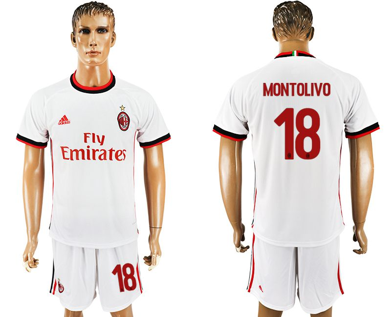 Men 2017-2018 club AC milan away 18 white soccer jersey